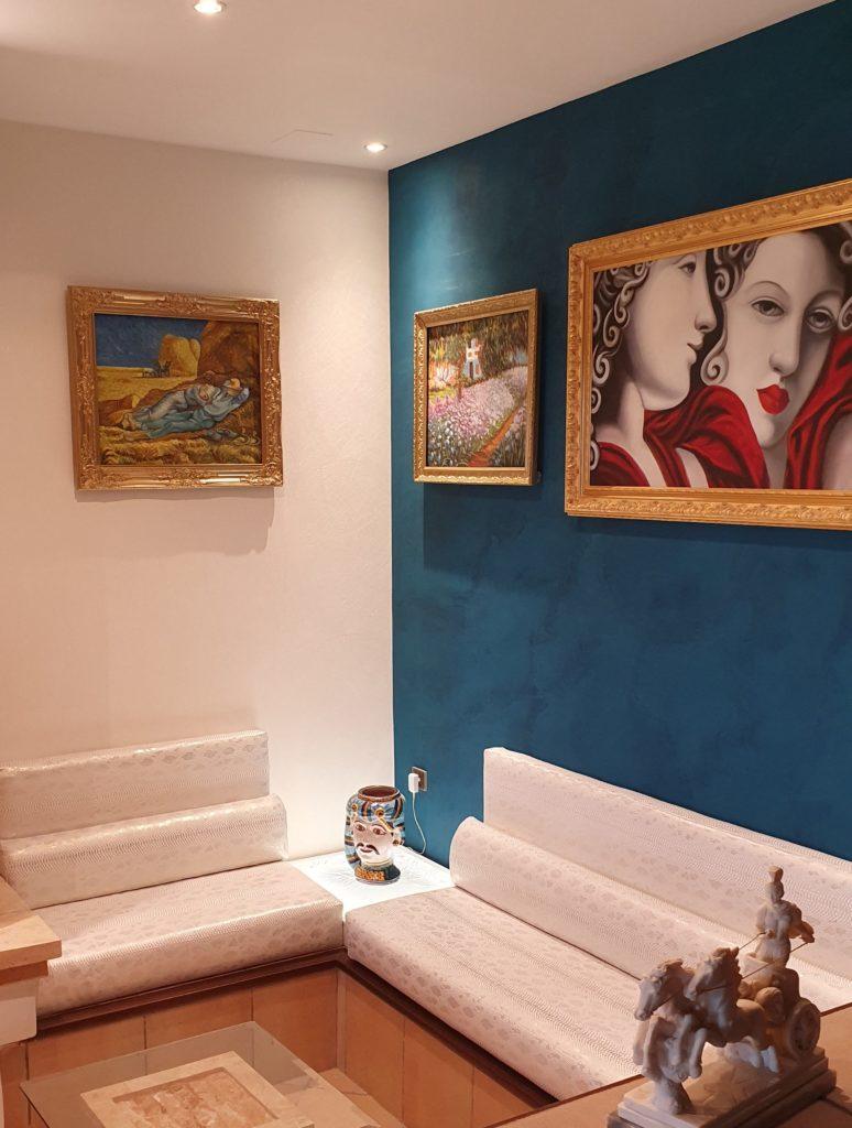 Enduit chaux Tonachino Bleu réalisation Interiors Concepts